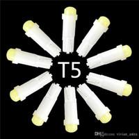 Wholesale T5 Led Car Signal Light - 10pcs lot T5 0.2W 1 SMD Led Ceramic Car Auto Side Wedge Gauge Dashboard Instrument Lights Lamp Bulb DC12V