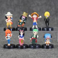 Wholesale One Piece Figures 5cm - Great 8pcs lot One Piece 3-5cm Luffy Nami Usopp Robin Chopper Sanji Zoro Brook cute mini pvc figure