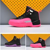 baloncesto violeta zapatillas deportivas al por mayor-Nuevo XII 12 Zapatillas de baloncesto para niños Black Deadly Pink Infant children athletic Black Violet sports 12s GG BG Toldder sneaker