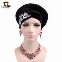 Wholesale Embellished Hats - 2017 new fashion women gorgeous Embellished sequined Velvet Turban Long Head Wraps women luxury Hijab head scarf turbante