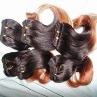 malaysische menschliche haarfarben großhandel-Ombre Farbe Wellenhaar 7 teile / los 100% Malaysische Menschenhaarverlängerung Braun 1B zwei farben