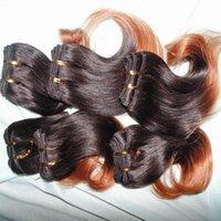 cores malaias do cabelo humano venda por atacado-Onda de cor Ombre cabelo 7 pçs / lote 100% Extensão Do Cabelo Humano Malaio Marrom 1B duas cores