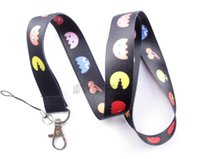 Lanyard pac man classic - Hot Sale Brand New Black Fruit Design Pac man Game key lanyard mobile neck strap