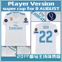 Wholesale Real Gold For Sale Men - 2018 Player Version Europe super cup for 8 AUGUST Real Madrid home white Soccer Jersey 17 18 ISCO Soccer Shirt Football uniforms Sales