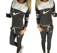 Wholesale Women Sportswear Sports - 2017 women sportswear group sport suit women hoodie sweatshirt hooded + leisure trousers suitable for sports fitness yoga movement jogging c
