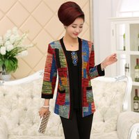 Wholesale Ladies Knit Suits Dresses - Wholesale- New 2016 middle-aged lady fake two piece suit fashion large size sweater mother dress nine point sleeve fake two pieces sweater