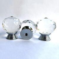 Wholesale Diamond Furniture Wholesale - 30pcs Pack 30mm Round Diamond Crystal Glass Door Drawer Cabinet Furniture Handle Knob Screw Furniture Accessories