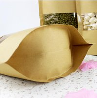 Qin.01.19 / 22 * ​​30 + 4.5cm Semi di caffè Dolci Ziplock Guarnizione Kraft Paper Bag Finestra Stand Up Pouch Sealable