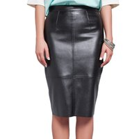 Wholesale Ladies PU Leather Pencil Midi Skirts Fashion Summer Autumn Plus Size Women High Waist Skirt Faux Leather Saia Faldas Largas