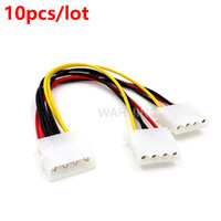Wholesale Computer Power Adapter Cables - Wholesale- 10pcs 4 Pin Molex Male to 2 ports Molex IDE Female Power Supply Y-Splitter Adapter Cable Computer Power Cable Connector HY316*10