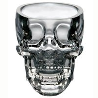 Wholesale crystal head vodka skull - Crystal Skull Cup Skull Head Wine Glasses Vodka Whiskey Shot Glass Double Layer Pirate Vaccum Glasses Beer Mug Drinking Ware