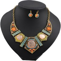 Wholesale Wholesale Diamond Set China - Newest jewelry Fashion jewelry set Bohemian 18K Golden Colorful Resin Diamonds Necklaces and Earrings Summer Beach jewelry set Wholesale