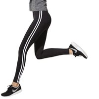 Wholesale Black Women Leggings Sex - Sex Gym Sport pants for women white striped off black capris Fashion leggings trousers PDDK19 WR