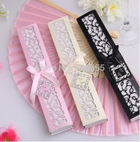 Wholesale Wholesale Laser Cut Animals - Wholesale- FREE SHIPPING + 100pcs lot Luxurious Silk Fold hand Fan in Elegant Laser-Cut Gift Box (Black; Ivory) +Party Favors wedding Gifts