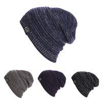 crochet masculino venda por atacado-Homens chapéu Beanie chapéu Malha Das Mulheres Dos Homens Baggy Beanie Oversize Inverno Chapéu Quente Ski Slouchy Chique Crochet Malha Cap SkullDM # 6