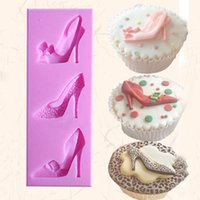 Туфли на высоком каблуке Силикон Fondant Mold Cake Decorating Chocolate Baking Mold DIY kitchen FM1100