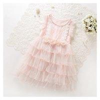 Wholesale Tulle Korean Fashion Floral - Lace Flower Baby Girls Princess Party Dress Korean Lace Tulle Tiered Children Tutu Dresses Fashion Pink Kids Sundress C214