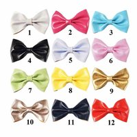 Wholesale Hair Bows Pins - Mini Solid Boutique 3 Inch Leather Hair Bow Hairclip Pins Solid Kid Hair Accessories For Girls