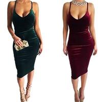 Wholesale Celebrities Low Cut Dresses - 2017 New Big Size Sexy Low-cut Club Bodycon Dress Women Party Dresses Halter Camisole Lady Celebrity Backless Bandage Dress XD507