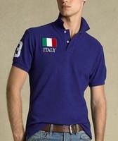 Wholesale Clothes Fashion Flag - American Fashion Cotton men Clothing USA Italy France Flag Print Male Slim Polo t shirt Man T-shirts Casual Shirt mens tops Sports tees