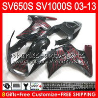 Wholesale black white fairings for sale - Group buy 8Gifts For SUZUKI SV1000S TOP red flames SV650S NO3 SV1000 S SV650 S SV S S Fairing