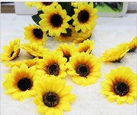 Wholesale Silk Christmas Flower Heads - Sunflower Buds Artificial Silk Daisy Flower Heads Hydrangea 4.5cm for Wedding Home Real Touch Bridal Bouquet Party Christmas Decoration