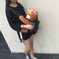 Wholesale Korean Plush Brands - Wholesale- 2016 Winter Women Girls Fashion Leather Backpack Plush Teddy Bear Backpack School bag fmous brand leisure small backpack bag