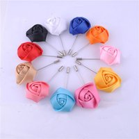 Wholesale Silver Color Brooches Blue - Wholesale- Wedding Boutonniere Floral Stain Silk Rose Flower 16 Color Available Groom Groomsman Man Pin Brooch Corsage Suit Decoration