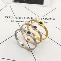 Wholesale Watch Lobster Clasp - Stainless Steel Rome Digital Charm Bracelets for Women Watch Strap Black Hollow Fashionista LOVE Titanium Men Bangles Jewelry Accessories
