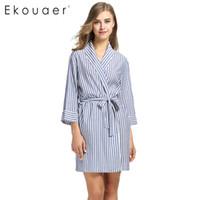 Wholesale Spa Dressing Gown - Wholesale- Ekouaer Striped Sleepwear Robe Women's Dressing Gown Casual 3 4 Sleeve Summer Sexy Women Spa Bathrobe Home Clothes