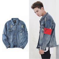 Wholesale China Jeans Sizes - Retro Destroyed washing with Zipper Denim Jacket To Do the old Hip hop clothing Jeans Men jackets China size