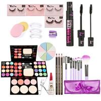 Wholesale Eyelash Curlers Sets - Wholesale-Full Makeup Sets Kit Face Make Up Eyeshadow Foundation Blusher Powder Palette with Cosmetic Brushes False Eyelash + Curler K5BO