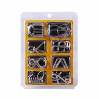 puzzles de fil achat en gros de-8pcs fil métallique puzzle magique test de QI jeu d'esprit adultes enfants enfant jouet anneaux série de Cardano