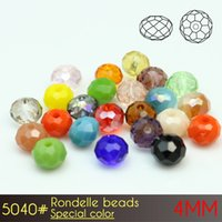 Wholesale Alternative Diy - High Quality Amazing DIY Room Austira Alternative Crystal Glass Rondelle Beads 4mm Special Colors A5040 150pcs set
