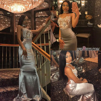 Wholesale sexy net size 14 dress for sale - Group buy 2K17 Gray High Neck Mermaid Elastic Satin Long Prom Dresses See Through Sexy Net Top Backless Evening Gowns Party Wear
