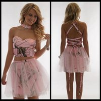 Wholesale Overlay Prom Dresses - Sexy Pink Camo Short Mini Homecoming Dresses Criss Cross Tulle Overlay Two Piece Sleeveless Special Prom Party Graduation Gowns Cheap Satin