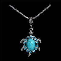 Wholesale Tortoise Crystal Pendant - Wholesale- Small Antique Silver Crystal Tortoise Pendant Necklace Turquoise Necklace Long Sweater Chain TL185 FREE SHIPPING