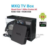 mx tv box quad core al por mayor-14PCS MXQ TV Box Amlogic S805 Quad-Core Cortex-A5 Mali-450 Quad-Core H.264 / H.265 MX MXQ CAJA DE TV para Android