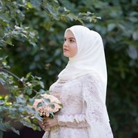 Wholesale Long Islamic Skirts - Islamic Musilin Wedding Dresses High Neck Lace Appliqued Beaded Long Sleeves Wrap Golden Belt Puffy Skirt Bridal Gowns
