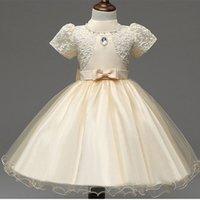 Wholesale Shorter Wedding Dresses For Boat - Girls Dresses Applique short sleeve Kids Lace Clothes Wedding Party Dress For Girl Summer Children's Princess Dresses 2-7Y