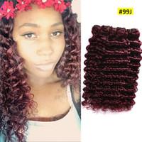 Wholesale ombre red hair weave grade resale online - Hot Selling Deep Wave Human Hair Bundles Wine Red J Hair Weft Grade A Deep Curly Hair Weft