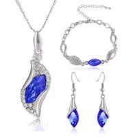 Wholesale aqua crystal necklace - Austria Crystal Rhinestone Jewelry Set Water Drop Design Stylish Necklace Earrings Bracelet jewelry sets fashion wedding necklace Drop Ship