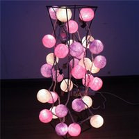 Wholesale Wedding Cotton Ball Decoration - Wholesale- 10 LED Cotton Balls String Lights Battery Fairy Lamp Wedding Decoration Party Xmas Decor for Hotel Exhibition Hall Home Room
