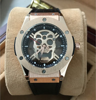 Luxury black rose skull - 2017 Luxury brand Fashion Skeleton Watches men or women Skull sport quartz watch rubber band rose gold case aaa replicas man wristwatches