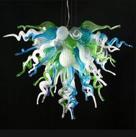 Wholesale glass contemporary - 100% Handmade Modern Chandelier Lighting LED Clear White Blue Green 110v 120v Hand Blown Glass Home Lighting