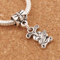 Wholesale Bunny Charm Bead - The Easter Bunny Rabbit Carrot Charm Beads 100pcs lot 9.8x25.5mm Tibetan Silver Fit European Bracelets Jewelry DIY B059