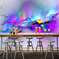 Wholesale Abstract Vintage Wallpaper - Personality Abstract Exaggeration Fresco Restaurant Club KTV Bar 3D Wallpaper Colorful Inkjet Modern Decor Mural Papel De Parede