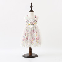 Wholesale Crochet Dress Kid - Sweet Girls princess dress Children floral printed lace suspender tulle dress kids lace crochet dress Girls backless party dess A0140