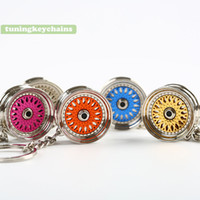 Wholesale Rims Keychain - 5PCS Lot New Car Tune Wheel Rim Zinc Alloy Keychain Key Chain Keyring Pendent JDM