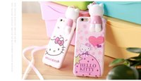 Wholesale Doll Silicone Case - Hello Kitty Silicone Case Stereoscopic Cat Doll for Iphone 6 6Plus 6s Plus 7 7Plus Cartoon Case Protective Anti Wrestling Soft Cover